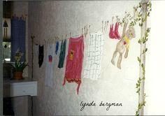 LYNDA BERGMAN DECORATIVE ARTISAN: TROMPE L'OEIL CLOTHESLINE IN A LAUNDRY ROOM & TUTORIAL