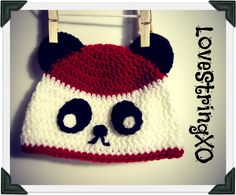 Crochet Kawaii Panda Beanie / Child hat /  Photo Props / Etsy Baby / Crochet Bebe / Handmade gift ideas. $26.00, via Etsy.
