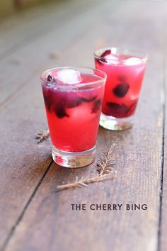 The Cherry Bing - 1 oz Bombay Sapphire, 5 cherries, some muddled, Ice ,lemonade.  Cut out the cherry pits and muddle three of the cherries in the bottom of your glass, then place the rest of the bits in the drink whole. Add ice, gin, and lemonade — if you feel like making lemonade fresh, even better.