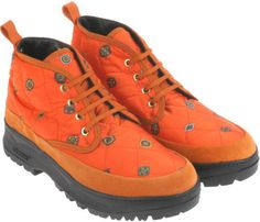 Kenzo Cashmere Patterned Boots in Quilted Canvas in Orange for Men - Lyst