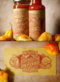 Bob's Tasty, Habanero Sauce, Label, Lettering, Hand Drawn, Packaging, Design