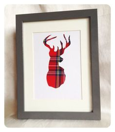 Hand Crafted Stag - Royal Stewart Tartan via Etsy