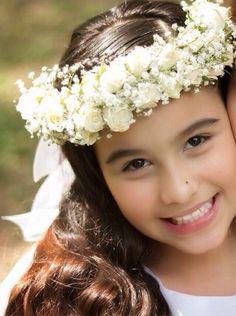Corona de flores para peinado de primera comunion