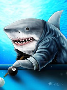 shark holding pool stick - Google Search