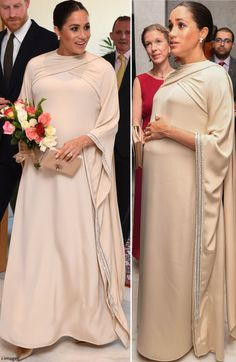 Mad About Meghan: Duchess Meghan Shines in Dior for Evening Reception Abaya Fashion, Muslim Fashion, Royal Fashion, African Fashion Dresses, African Dress, Maternity Wear, Maternity Dresses, Mode Turban, Dior Gown