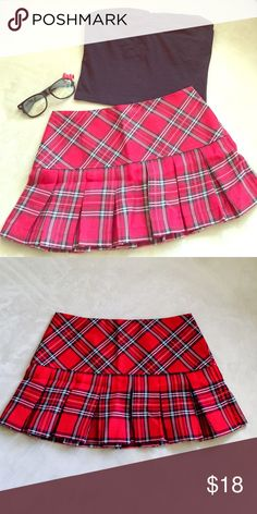 🎃 SALE 🎃Naughty School Girl Naughty School Girl- NWT Wet Seal Skirt, paid $20, Size- Extra Small, Color- Red Plaid; Gently Worn Wet Seal Cropped Knit Top with built in shelf bra, Size- Small, Color- Black; ***Glasses Not Included Wet Seal Skirts Mini