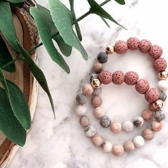 Items similar to Hand Stamped // Pink Zebra Jasper Beads // Rose gold filled Beads // Lava Beads // Essential Oil Diffuser on Etsy
