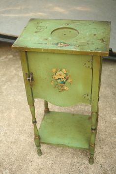 Smoker's Stand Cabinet Table Vintage Green by vintageatmosphere