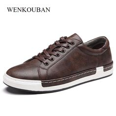 dbcb69712784 Luxury Men Sneakers Black Brown Lace Up Flats Male Casual Shoes Comfortable  PU Leather Loafers Plus