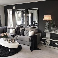 Red black and gray bedroom ideas red black grey living room ideas black living room decor Dark Living Rooms, New Living Room, My New Room, Home And Living, Dark Rooms, Small Living, Modern Living, Mirrors For Living Room, Luxury Living