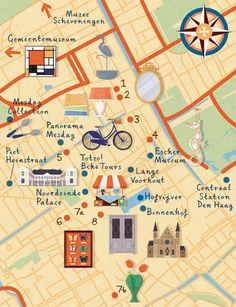 Zara Picken - Homes & Antiques magazine map of The Hague, highlighting antiques hotspots, landmarks and places of interest.