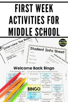 Engaging and relevant first week of school activities for middle school students from 2 Peas and a Dog.  Use these back to school activities for your middle school classroom.