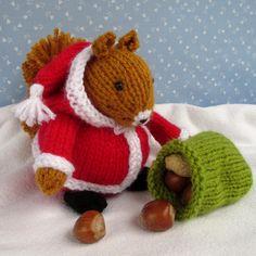 Santa Squirrel Knitting pattern by Fuzzytuft Knitting Designs, Knitting Projects, Crochet Projects, Knitting Patterns, Crochet Patterns, Crochet Crafts, Yarn Crafts, Crochet Santa Hat, Tiny Gifts