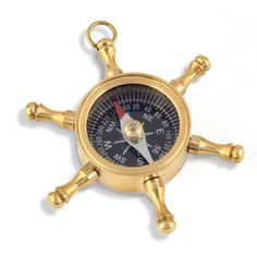 Wheel Design Black Dial Pure Brass Real Compass 406