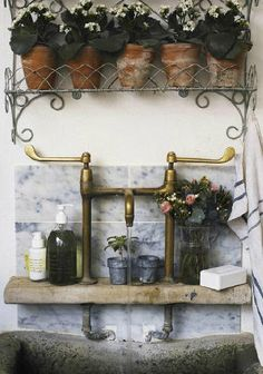 French Cottage and Country brass taps bathroom sink