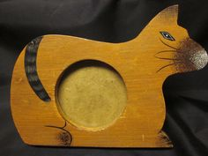 "Wood Siamese Cat Kitty Picture Photo Frame Round Glass 7"" Easel Back Stand Euc"