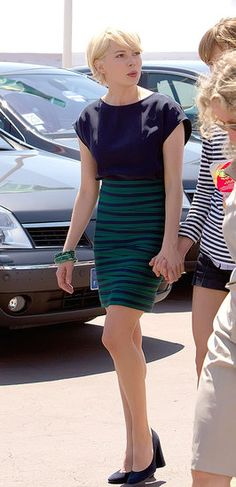 striped high-waisted navy + green skirt // michelle williams