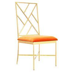 Worlds Away Ashton Gold Chair - Orange