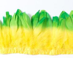 Double Dyed Nagoire Feathers by the Yard Quilling, Carnival, Yard, Floral, Feathers, Flowers, Lime, Crafts, Color