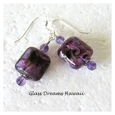 Amethyst Lampwork Dangle Earrings, Glass Nugget Beads, Handmade... ❤ liked on Polyvore featuring jewelry, earrings, beaded jewelry, long earrings, amethyst jewelry, glass bead jewelry and dangle earrings