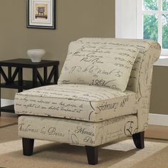 Signature Tan Linen Slipper Chair | Overstock.com. Bought this and I'm glad I did. A really fun statement piece that is easy to include in various different settings of the house (i.e. family room, entry, bedroom/reading area). I think it will look fantastic against an accent wall. It's also decently priced and super easy to put together.