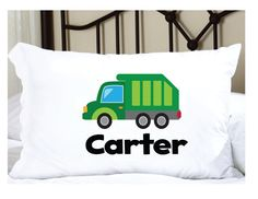 Personalized Pillow Case for Kids with Garbage Truck