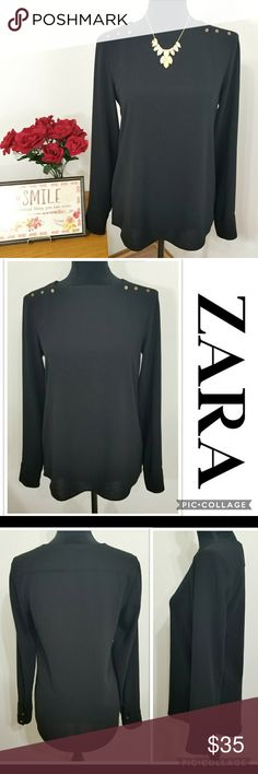 """ZARA Black Longsleeve Top ZARA Black Longsleeve Top Beautiful, elegant-looking top from Zara with a gold tone snap closure at the shoulder and cuffs. In EXCELLENT pre-owned CONDITION. No holes/rips. No stains/marks. Smoke-free home. Feel free to ask. Approx. Laid flat Measurements: Pit to Pit - 17 1/2"""" Length - 26"""" Zara Tops"""