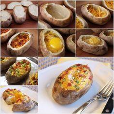Une pomme de terre au four avec un œuf, du fromage et des légumes.