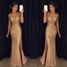 Golden Heavy Beaded Side Slit Sexy Mermaid Long Prom Dresses, PM0018