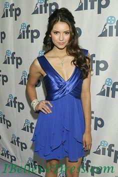 V Neck Chiffon Satin Nina Dobrev Blue Cocktail Party Dress,V Neck Chiffon Satin Nina Dobrev Blue Cocktail Party Dress