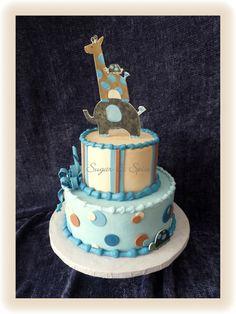 Jake Baby Shower Cake (elephant, giraffe, turtle)