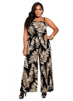 529ef45785e7 Ashley Stewart  Leaf Print Plus Size Jumpsuit Curvy Fashion Summer