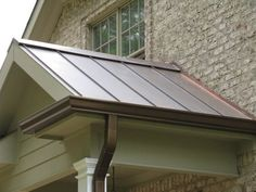 Paint my gutters to look like aged copper. Possible option: Designer Copper Aluminum Gutters - the look of aged copper in an aluminum gutter, half round style available. Copper Gutters, Copper Roof, Exterior Colors, Exterior Paint, Exterior Trim, Gutter Colors, Brown Roofs, How To Install Gutters, Corrugated Roofing