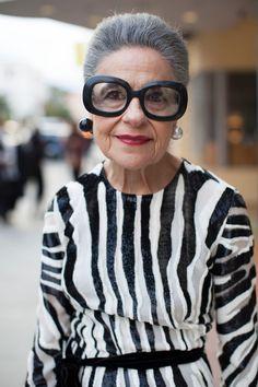 Rockin' the Venus earrings, glasses and B & W stripes. Love it! ADVANCED STYLE: Joy Venturini Bianchi, San Francisco