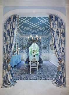 blue dining room with intricate ceiling design by Seldom Scene Interiors   Palm-Beach   photo credit: Jeff-Allen