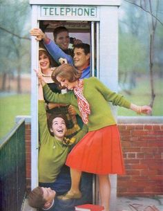 How many can you get in a phone booth?    From Seventeen, August 1962
