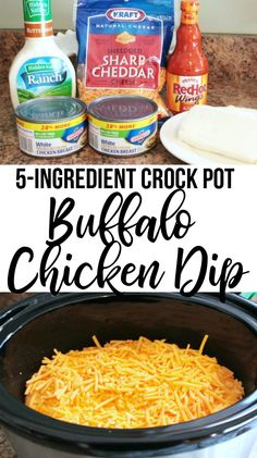 Chicken Dip Buffalo Chicken Dip the perfect easy appetizer to enjoy in the crockpot or oven! This Buffalo Chicken Dip Recipe is filled with chicken, buffalo sauce, ranch and cheese for the Buffalo Chicken flavor we all love! Buffalo Chicken Dips, Buffalo Chicken Dip Recipe Crock Pot, Pollo Buffalo, Crock Pot Dips, Chicken Recipes For Crock Pot, Recipes With Buffalo Sauce, Buff Chicken Dip, Simple Crock Pot Recipes, 5 Ingredient Crockpot Recipes
