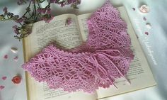 Pink collar necklace Crochet collar necklace Crochet jewelry