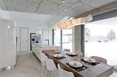 kitchen bench dining table joined - Google Search