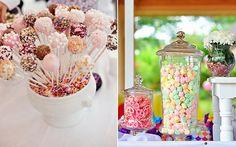 Na mesa de encerramento é legal colocar também cakepops e balinhas coloridas.