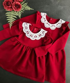 Very pretty plain baby dress in red, long sleeve w. Very pretty plain baby dress in red, long sleeve with white round frills lace neck A high west with frill skirt. Girls Christmas Outfits, Kids Outfits, Toddler Dress, Baby Dress, Trendy Dresses, Nice Dresses, Baby Girl Fashion, Kids Fashion, Frock Design