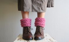 Womens leg warmers knitted shoes accessories boot by woolpleasure