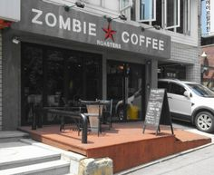 Zombie Coffee in Hongdae. Prev. pinner: One of the better tasting cafes. They buy fresh coffee beans and roast them themselves, and it's not sickeningly sweet like most other cafe's coffee.