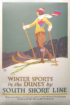 Poster Plus Products - Oscar Rabe Hanson, Winter Sports in the Dunes by the South Shore Line - Collotype