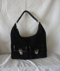 Pre-Owned Black Suede Leather Handbag*******. by RamsesTreasure on Etsy