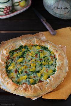 torta salata con ricotta, spinaci e zucca