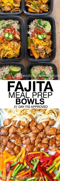 No matter how busy life gets, we still have to eat. With easy make ahead ideas like these Fajita Meal Prep Bowls, eating great all week is as easy as opening the fridge to grab a dish! They\'re delicious, healthy and 21 day fix approved and they freeze perfectly!