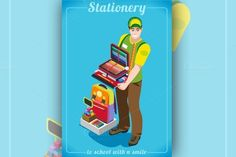 Stationer Poster with Chancellery - Illustrations - [Back to school with a smile! Enjoy my Stationer Poster with Chancellery. School has never been so cool and funny :)]