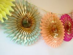 Neon Punch Fancy Frill Fan Tissue Garland by Everly Lane Design on Etsy