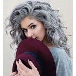 Beautiful Silver/Grey curly hair. hair color